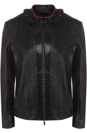 Приталенная кожаная куртка с воротником-стойкой | Фото №1