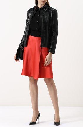 Приталенная кожаная куртка с воротником-стойкой | Фото №2