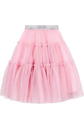 Многослойная юбка с широким поясом и металлизированной отделкой | Фото №2
