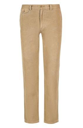 Однотонные хлопковые брюки прямого кроя | Фото №1