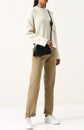 Однотонные хлопковые брюки прямого кроя | Фото №2