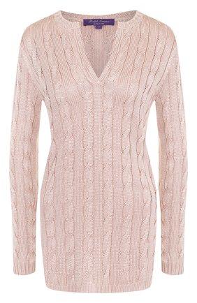 Удлиненный шелковый пуловер фактурной вязки | Фото №1