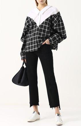 Женская хлопковая блуза свободного кроя с вырезом на спинке Ben Taverniti Unravel Project, цвет серый, арт. UWGA016R181720019900 в ЦУМ | Фото №1