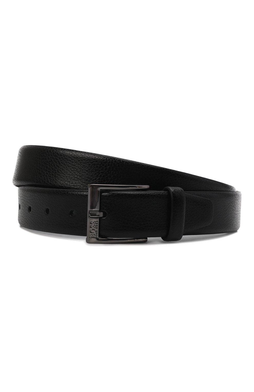 Мужской кожаный ремень BOSS черного цвета, арт. 50386188 | Фото 1