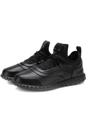 Кожаные кроссовки Valentino Garavani на шнуровке | Фото №1