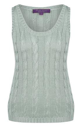 Женская шелковый топ фактурной вязки без рукавов RALPH LAUREN светло-зеленого цвета, арт. 290703704 | Фото 1