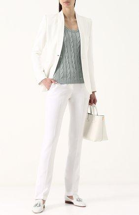 Женская шелковый топ фактурной вязки без рукавов RALPH LAUREN светло-зеленого цвета, арт. 290703704 | Фото 2