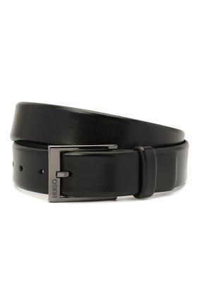 Мужской кожаный ремень HUGO черного цвета, арт. 50385731 | Фото 1 (Статус проверки: Проверено; Случай: Формальный)