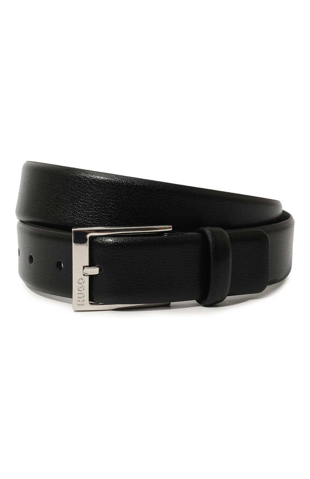 Мужской кожаный ремень с металлической пряжкой HUGO черного цвета, арт. 50385627 | Фото 1