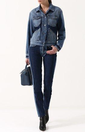 Джинсовая куртка свободного кроя с потертостями Maison Margiela синяя | Фото №1