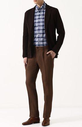 Мужские льняные брюки RALPH LAUREN коричневого цвета, арт. 790585317 | Фото 2