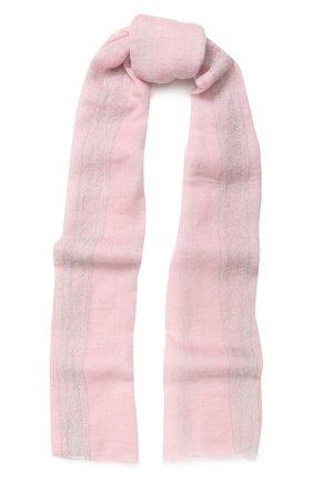 Мужские кашемировый шарф с отделкой из кружева и страз VINTAGE SHADES светло-розового цвета, арт. 12989 | Фото 1