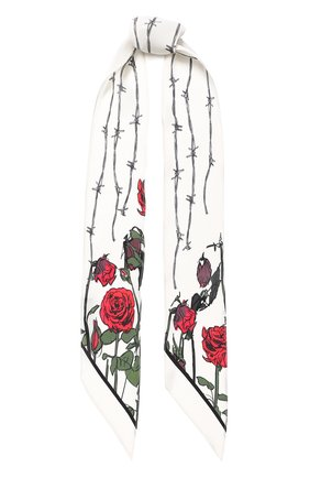 Шелковый шарф-бандо с принтом Rockins кремовый | Фото №1