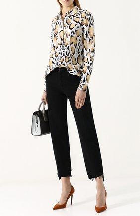 Женская шелковая блуза свободного кроя с принтом Equipment, цвет разноцветный, арт. 17-5-Q3075-E900 в ЦУМ | Фото №1