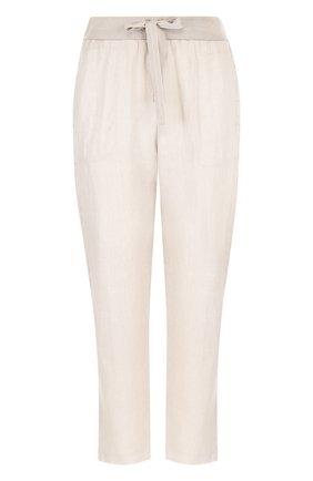 Льняные укороченные брюки с эластичным поясом | Фото №1