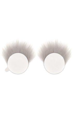 Аппликация Eyes с отделкой из овчины Anya Hindmarch серого цвета | Фото №1