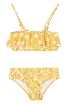 Раздельный купальник с принтом и оборкой Zimmermann желтого цвета | Фото №1