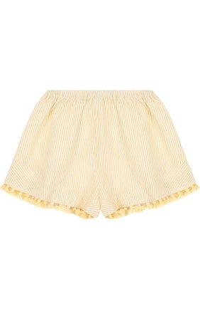 Пляжные шорты в полоску с бахромой Zimmermann желтого цвета   Фото №1