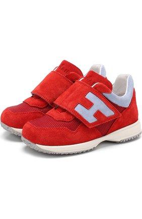 Детские замшевые кроссовки с застежками велькро Hogan красного цвета | Фото №1