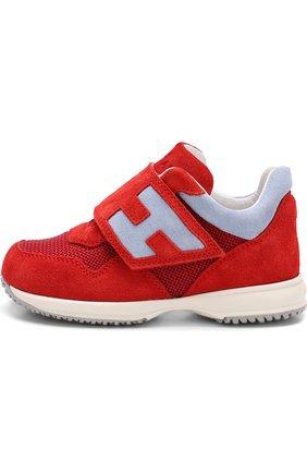 Детские замшевые кроссовки с застежками велькро Hogan красного цвета | Фото №2