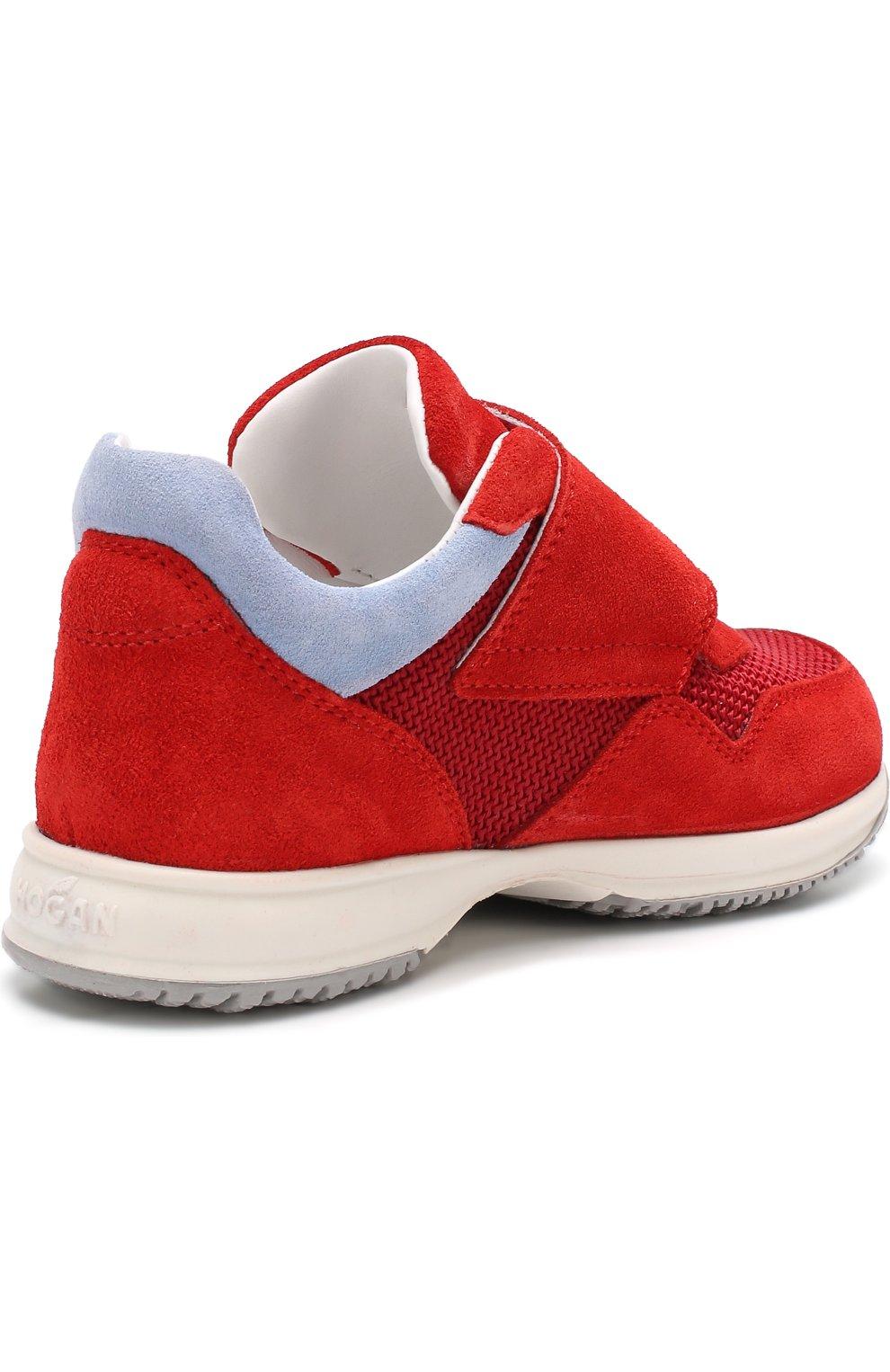 Детские замшевые кроссовки с застежками велькро Hogan красного цвета | Фото №3