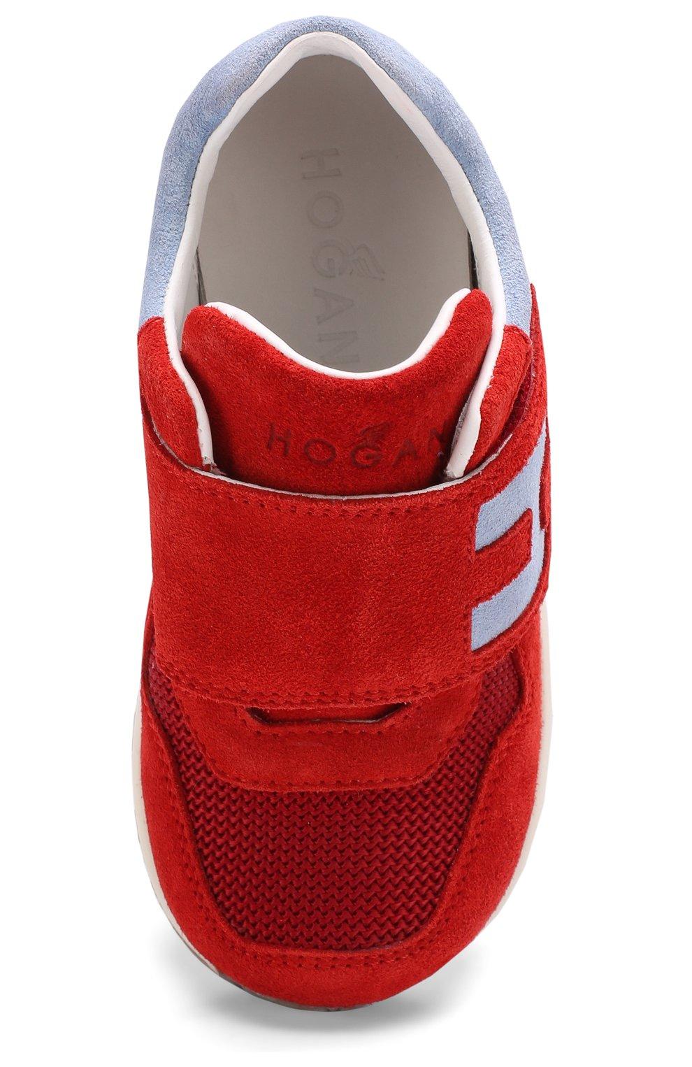 Детские замшевые кроссовки с застежками велькро Hogan красного цвета | Фото №4