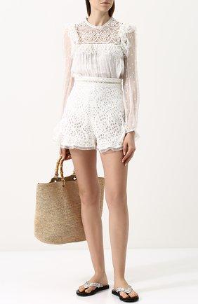 Женские кожаные шлепанцы с аппликациями BOTTEGA VENETA белого цвета, арт. 498408/VT040 | Фото 2
