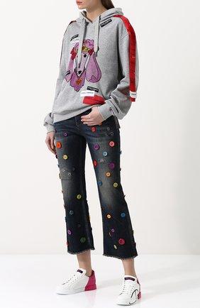 Женские кожаные кеды portofino DOLCE & GABBANA фуксия цвета, арт. CK1520/AI053 | Фото 2