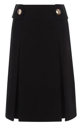 Однотонная юбка-миди с широким поясом | Фото №1