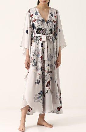 Шелковый халат с принтом и поясом | Фото №2