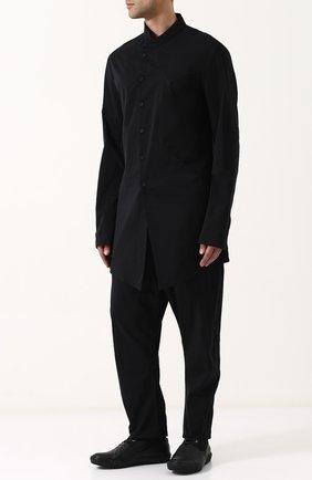 Высокие кожаные кеды на шнуровке с отделкой Both черные | Фото №1