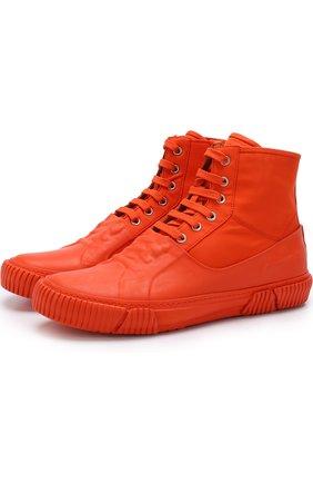 Высокие текстильные кеды на шнуровке с отделкой Both оранжевые | Фото №1