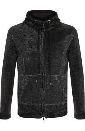 Кожаная куртка на молнии с капюшоном Giorgio Brato черно-белая | Фото №1