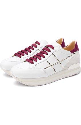 Комбинированные кроссовки на шнуровке Hogan белые | Фото №1