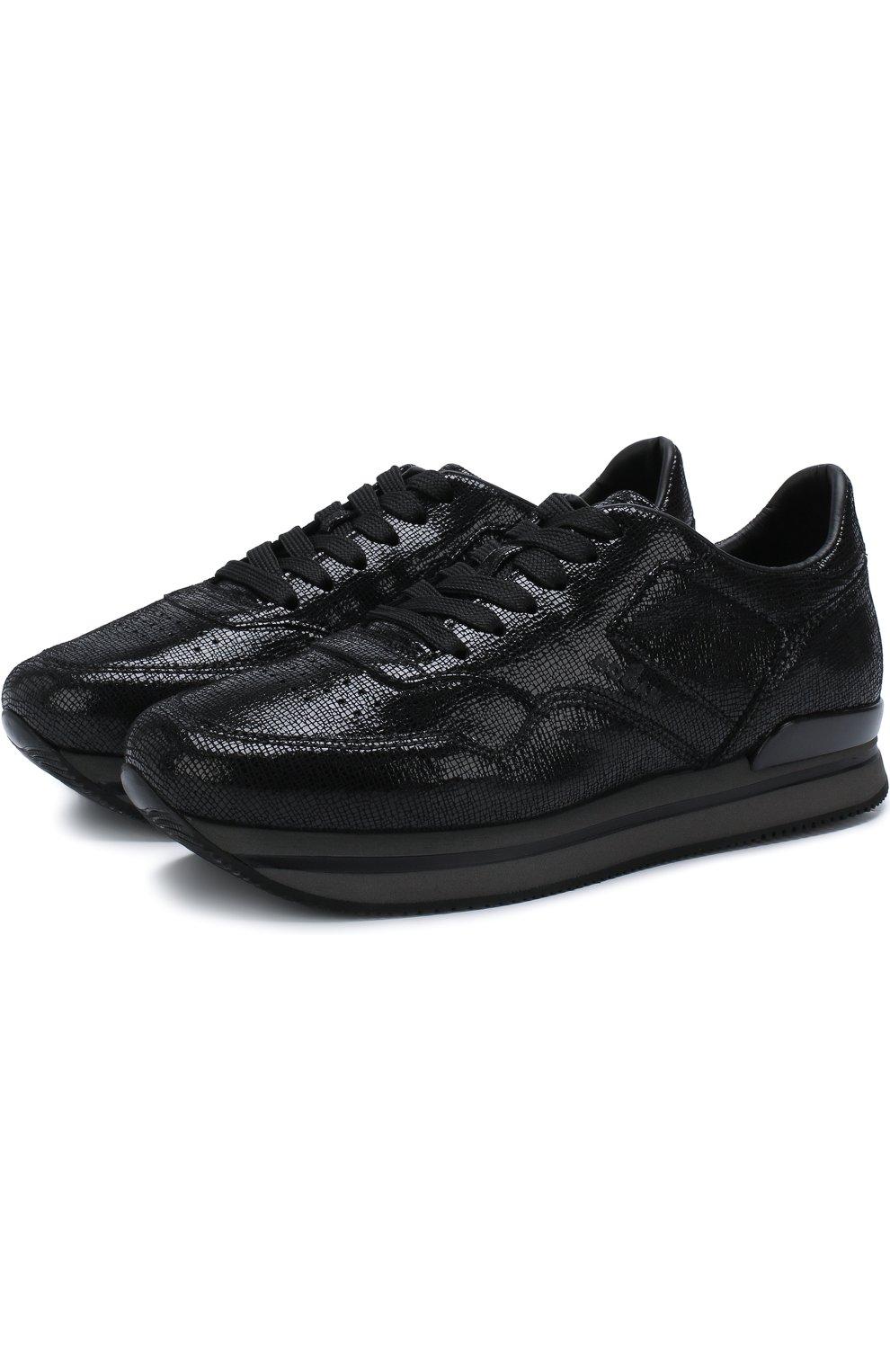 Кожаные кроссовки на шнуровке   Фото №1