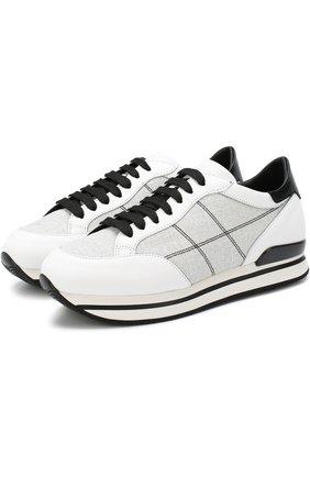 Комбинированные кроссовки на шнуровке Hogan черно-белые | Фото №1