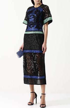 Приталенное платье-миди с пайетками Elie Saab черное | Фото №1