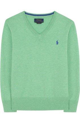 Хлопковый пуловер с V-образным вырезом и логотипом бренда   Фото №1