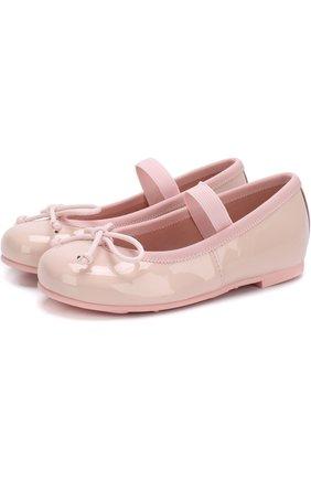 Детские лаковые туфли с бантами и перемычкой PRETTY BALLERINAS розового цвета, арт. 39.270/9.031/SHADE | Фото 1