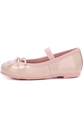 Детские лаковые туфли с бантами и перемычкой Pretty Ballerinas белого цвета   Фото №1