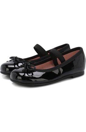 Детские лаковые туфли с бантами и перемычкой PRETTY BALLERINAS черного цвета, арт. 39.270/9.031/SHADE | Фото 1