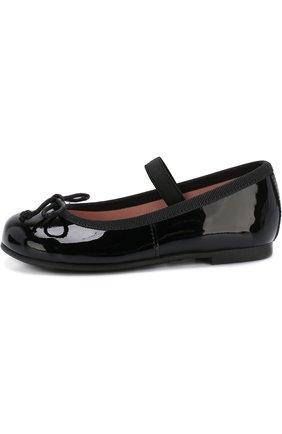 Детские лаковые туфли с бантами и перемычкой PRETTY BALLERINAS черного цвета, арт. 39.270/9.031/SHADE | Фото 2