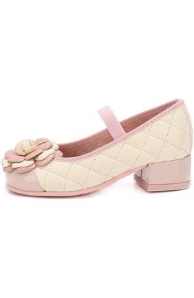 Кожаные туфли с цветочной аппликацией и прострочкой | Фото №2