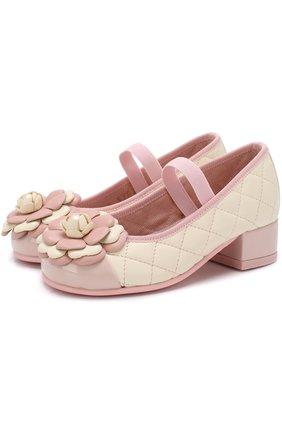 Детские кожаные туфли с цветочной аппликацией и прострочкой Pretty Ballerinas розового цвета   Фото №1