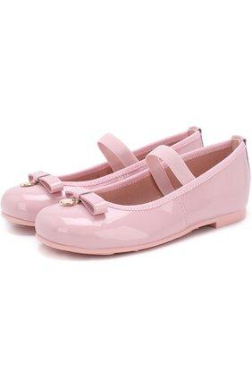 Детские лаковые балетки с бантами и перемычкой Pretty Ballerinas розового цвета   Фото №1