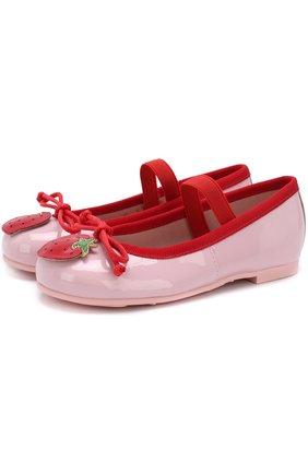 Детские кожаные балетки с аппликациями и перемычкой Pretty Ballerinas розового цвета   Фото №1