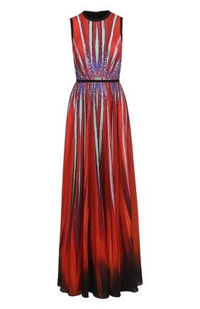 Приталенное платье-макси с принтом Elie Saab красное | Фото №1