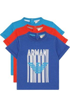 Хлопковый комплект из трех футболок с принтом | Фото №1