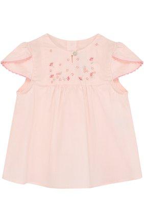 Детский хлопковая блуза с вышивкой TARTINE ET CHOCOLAT розового цвета, арт. TL12051/1M-18M   Фото 1