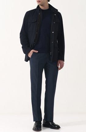 Мужская шерстяной френч на молнии с воротником-стойкой ERMENEGILDO ZEGNA темно-синего цвета, арт. UPT20/P01 | Фото 2 (Материал подклада: Синтетический материал; Рукава: Длинные; Материал внешний: Шерсть; Мужское Кросс-КТ: Верхняя одежда, шерсть и кашемир; Кросс-КТ: Куртка)